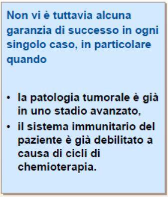 Non vi è tuttavia alcuna garanzia di successo in ogni singolo caso, in particolare se lo stadio è avanzato e se il sistema immunitario è debilitato da cicli di chemioterapia